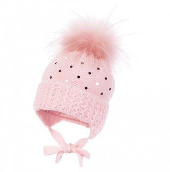 Зимняя шапка для девочки Jamiks Sandra I, помпон Енот, розовая