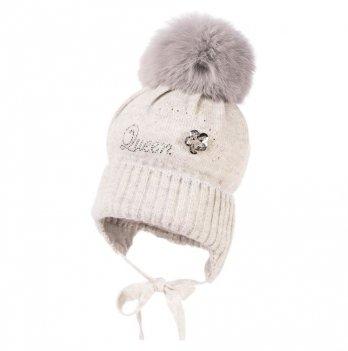Теплая шапка для девочки Jamiks Tami I, помпон Кролик, серая
