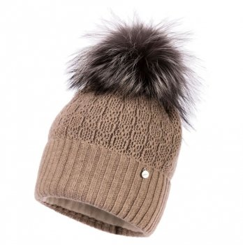 Теплая шапка для девочки Jamiks Tiona I, помпон Енот, бежевая