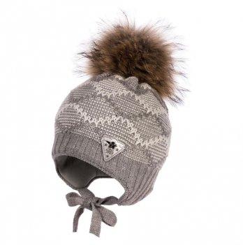 Зимняя шапка для мальчика Jamiks Trevor I, помпон Енот, серая