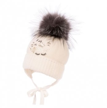 Теплая шапка для девочки Jamiks Vig I, помпон Енот, молочная