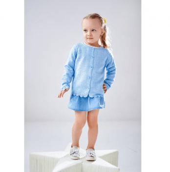 Кофта ТМ Lutik для девочки, с ажурной вязкой, голубая