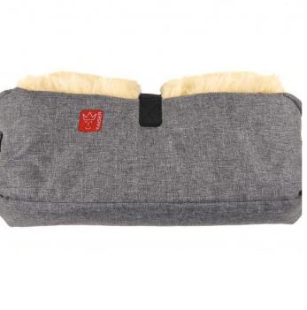Теплая двойная муфта для рук из натуральной овчины Kaiser, 45х22см, антрацит/меланж