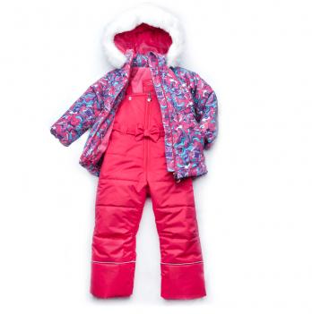 Костюм-комбинезон из мембранной ткани для девочки Модный карапуз, малиновый