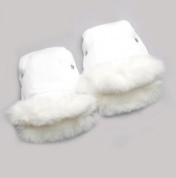 Муфта на коляску Модный карапуз мех кролик белые