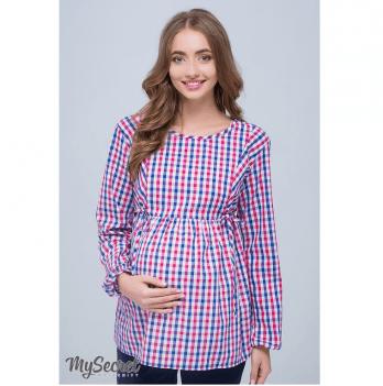 Клетчатая блуза для беременных и кормящих мам, MySecret, сине-бело-малиновая