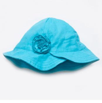 Панама льняная для девочки Модный карапуз, с цветком, голубая