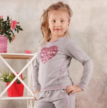 Реглан для девочки Модный карапуз, серый меланж