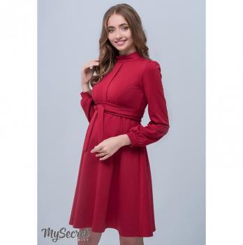 Красивое классическое платье для беременных и кормящих мам, MySecret, кармин
