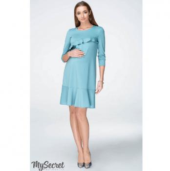 Платье с воланами для беременных и кормящих мам MySecret, голубое