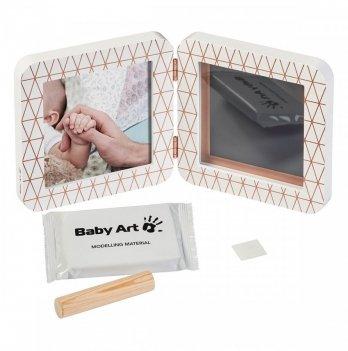 Двойная рамка, Baby Art медно/белый