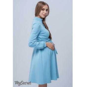 Красивое классическое платье для беременных и кормящих мам, MySecret, голубое Размер М