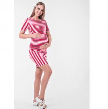 Платье для беременных и кормящих Barcelona Lullababe в полоску мини красный с белым