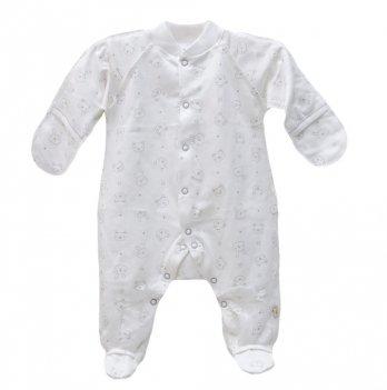Комбинезон для новорожденных футер Minikin Зайцы 00301 молочный