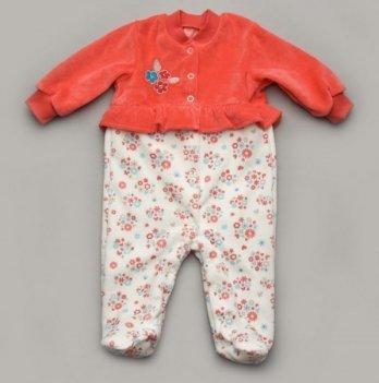 Комбинезон для девочки велюровый Модный карапуз 304-00005 коралловый