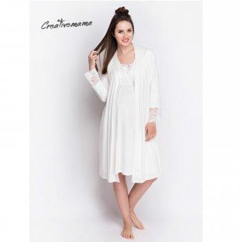 Комплект в роддом для беременных и кормящих Creative Mama халат+ ночная сорочка BLANCO