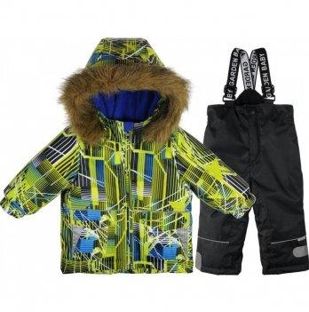 Комплект (куртка/полукомбинезон) для мальчиков Garden baby, салатовый/черные полоски