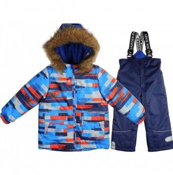 Комплект (куртка/полукомбинезон) для мальчиков Garden baby, синий с серыми полосками