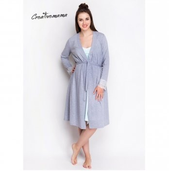 Комплект в роддом Creative Mama халат+ ночная сорочка для беременных и кормящих MINT (хлопок)