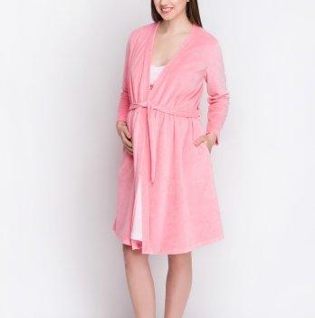 Комплект в роддом для беременных и кормящих Creative Mama халат+ ночная сорочка PUDRA (хлопок)