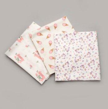 Ситцевые пеленки Модный Карапуз Розовый 3 шт 90х100 см