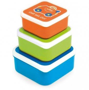 Набор контейнеров для детской еды Trunki, 3-в-1, голубой/зелёный/оранжевый