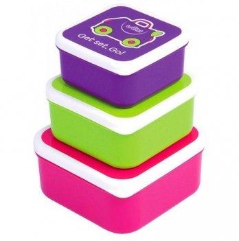 Набор контейнеров для детской еды Trunki, 3-в-1, розовый/фиолетовый/зелёный