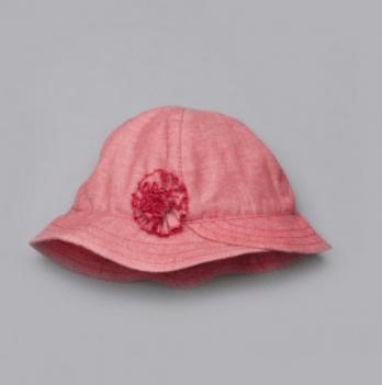 Панама с цветком для девочки Модный карапуз, коралловая