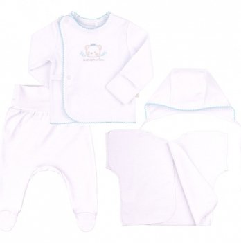 Комплект для мальчика Bembi Белый/Голубой Интерлок КП222