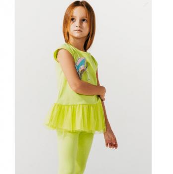 Туника для девочки Smil от 2 до 6 лет желто-салатовая