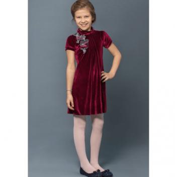 Платье нарядное Модный карапуз, бархат, бордовое