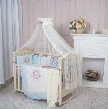 Комплект Маленькая Соня Elegance, стандартная кроватка, 7 предметов, голубой