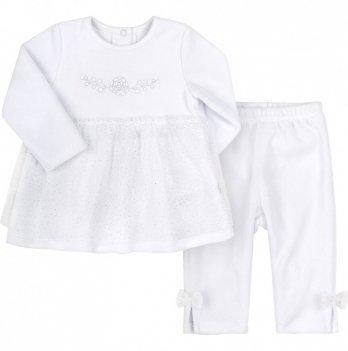 Костюм крестильный для девочки Bembi Белый Велюр КС600