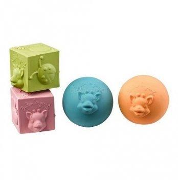 Каучуковые кубики и шарики Жирафа Софи, Vulli, 4 шт.