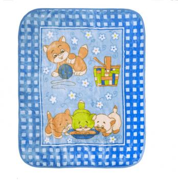 Одеяло детское Golden Spring Котята, велюр, 100 х 100см, голубое
