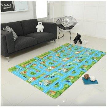 Игровой коврик ALZIPmat CITY ROAD, зелёный с голубым, с рисунком, размер 240 х 140 х 1,2 см