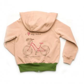 Джемпер на молнии для девочки Модный карапуз I love my bike, пудровый