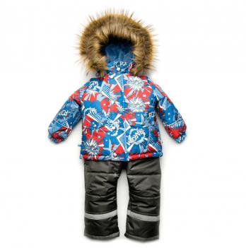 Зимний костюм из мембранной ткани для мальчика Модный карапуз, принт синий