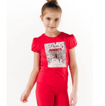 Футболка для девочки Smil от 7 до 10 лет красная