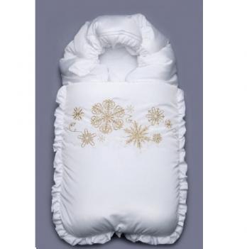 Конверт-одеяло зимний Модный карапуз Снежинка, белый