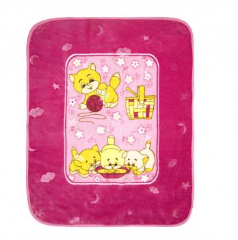 Одеяло детское Golden Spring Котята, велюр, 100 х 100см, розовое