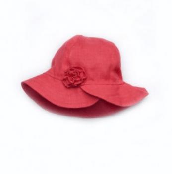 Панама льняная для девочки Модный карапуз, с цветком, красная