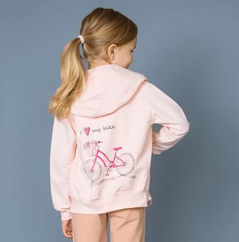 Джемпер на молнии для девочки Модный карапуз I love my bike, розовый