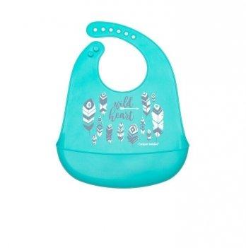 Слюнявчик силиконовый с карманом Canpol babies Wild Nature Голубой 74/023