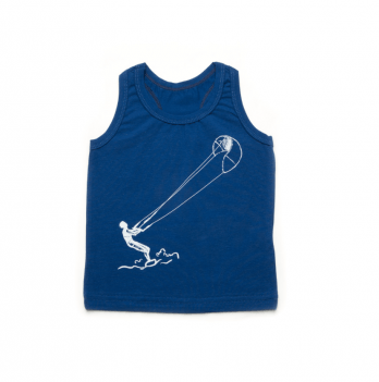 Майка-боксерка для мальчика Модный карапуз, синяя