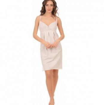 Ночная рубашка MammaLux для беременных и кормящих мам на бретелях для кормления розовая в серый горошек 803