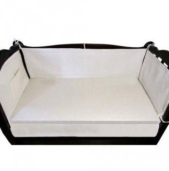Защитный льняной бортик в кроватку (ткань хлопок), ЛинТекс