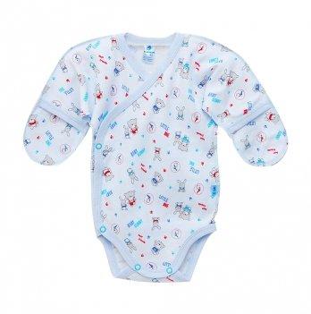 Боди для новорожденных, закрытые ручки, Minikin, голубой