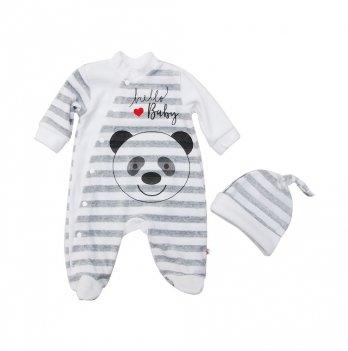 Комплект велюровый: комбинезон + шапочка Minikin Панда, с красным сердечком