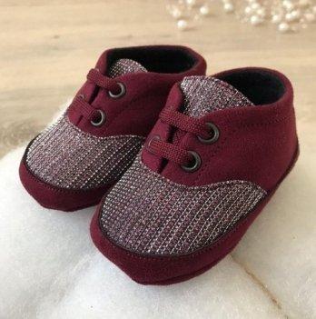 Пинетки на шнурках Бетис Модель-12 текстиль Бордовый